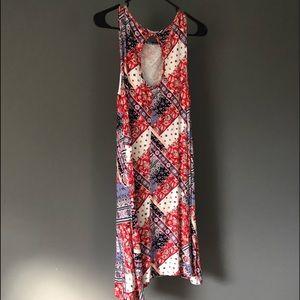 bandana like patterned flowy tank top dress